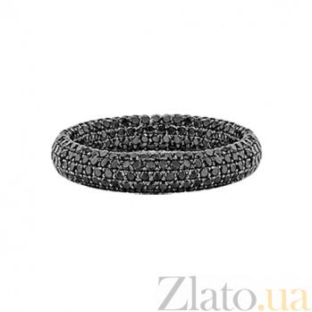 Золотое кольцо с черными бриллиантами Два ангела 000029603