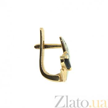 Золотые серьги с бриллиантами и сапфирами Цветана 000021752