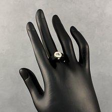 Каучуковое кольцо Оллана с фианитом в серебряном касте и золотой накладкой