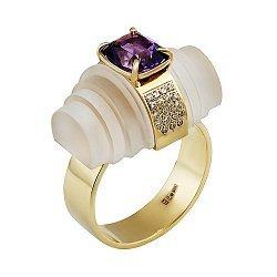 Золотое кольцо с бриллиантами, аметистом и кварцем Тайный свиток 000033332