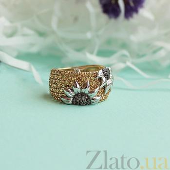 Кольцо из комбинированного золота Подсолнухи с фианитами VLT--ТТ1018-1