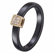 Кольцо в желтом золоте Инна с черной или белой керамикой и бриллиантами