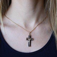 Золотой крестик Иисус Христос со вставкой каучука