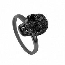 Серебряное кольцо Черный череп с фианитами