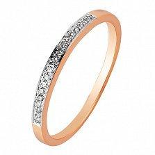 Обручальное кольцо в красном золоте Анна с бриллиантами