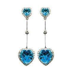 Серьги-подвески из белого золота с голубыми топазами и бриллиантами 000019207