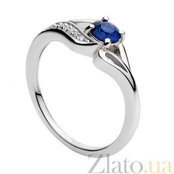 Кольцо из белого золота с сапфиром и бриллиантами Хайди 000030329