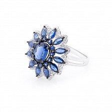 Золотое кольцо Доротея с сапфирами и бриллиантами