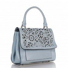 Кожаная деловая сумка Genuine Leather 8915 голубого цвета с ажурным узором на клапане