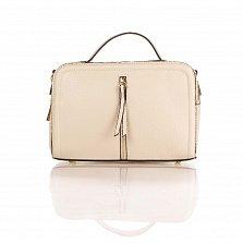 Кожаная деловая сумка Genuine Leather 8916 бежевого цвета с замшевыми вставками, на молнии