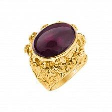 Золотой перстень Розовый сад в желтом цвете с бордовым турмалином