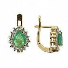 Золотые серьги с бриллиантами и изумрудами Фрида