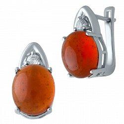 Серебряные серьги с янтарем и цирконием 000128485