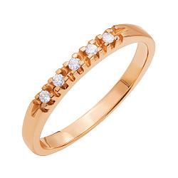 Золотое кольцо Гаргальяни в красном цвете с дорожкой бриллиантов