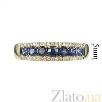 Золотое кольцо в желтом цвете с бриллиантами и сапфирами Аврора 000026859