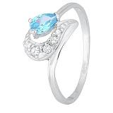 Серебряное кольцо с голубым фианитом Париса