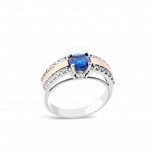 Серебряное кольцо Рианна с золотой накладкой, синим алпанитом и фианитами