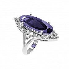 Серебряное кольцо Селина с аметистом и фианитами