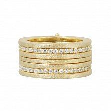 Серебряное наборное кольцо с фиксатором Иритта в желтом цвете с дорожками фианитов