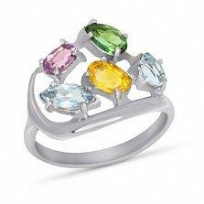 Серебряное кольцо Дафна с синтезированным аметистом, цитрином, топазом и изумрудом