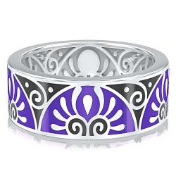 Мужское обручальное кольцо из белого золота с эмалью Талисман: Души 000009917