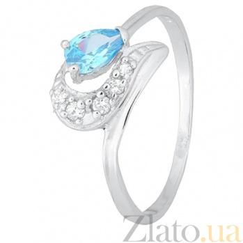 Серебряное кольцо с голубым фианитом Париса SLX--К2ФТ1/170