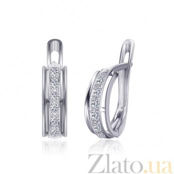 Серебряные сережки с фианитами High Fashion 000024678