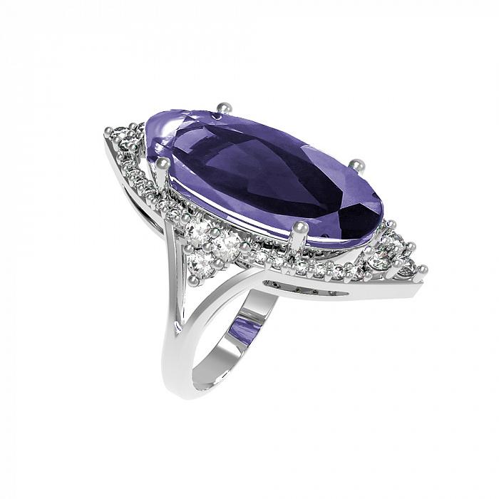 Серебряное кольцо Селина с аметистом и фианитами 000079689
