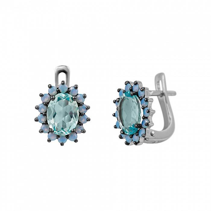 Серебряные серьги Стефани с топазом и голубыми фианитами 000081878