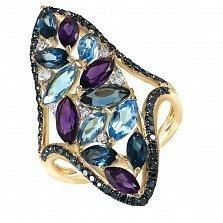 Кольцо из желтого золота Павлина с аметистами, бриллиантами и топазами