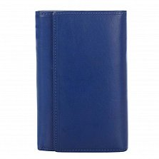 Кожаный кошелек Genuine Leather p181 синего цвета на кнопке