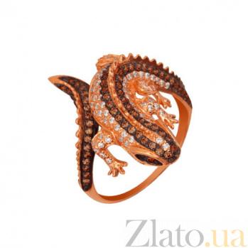 Кольцо из красного золота Игуана с фианитами VLT--ТТ1064-2