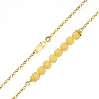 Серебряный браслет в позолоте с центральной частью из лимонного янтаря 000099728