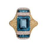 Золотое кольцо с сапфирами и бриллиантами Angelina