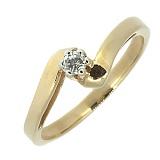 Серебряное кольцо Стелла в позолоте с бриллиантом