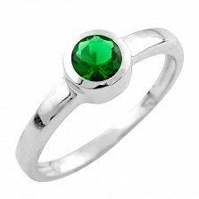 Серебряное кольцо Зухра с синтезированным изумрудом