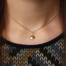 Золотой кулон Рифленое сердце с алмазной насечкой