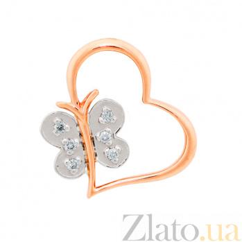 Золотая подвеска Бабочка в сердце в комбинированном цвете с бриллиантами VLA--34090