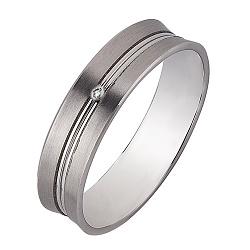 Золотое обручальное кольцо Романтичный подарок в белом цвете с бриллиантом