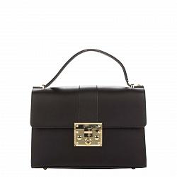 Кожаная деловая сумка Genuine Leather 8644 черного цвета с клапаном на механическом замке