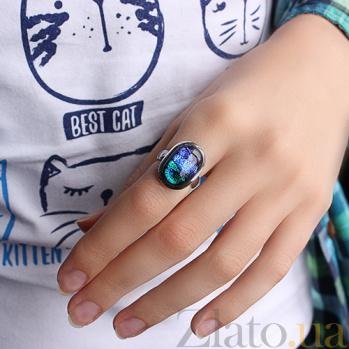 Серебряное кольцо с имитацией опала Пейзаж 000007017