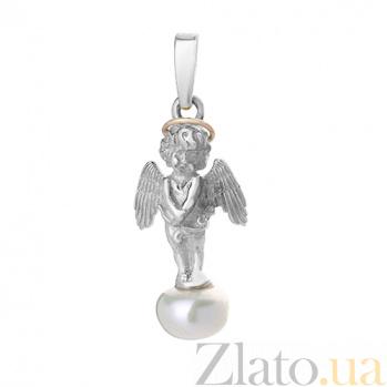 Серебряный подвес с жемчугом и золотой вставкой Ангелок 000029491