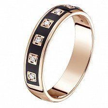 Кольцо в красном золоте Эдита с бриллиантами и эмалью