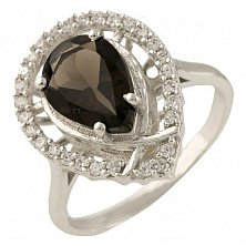 Серебряное кольцо Флорентина с раухтопазом и фианитами