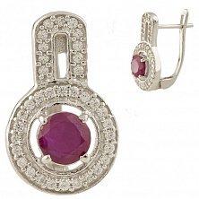Серебряные серьги Вэнди с рубином и фианитами