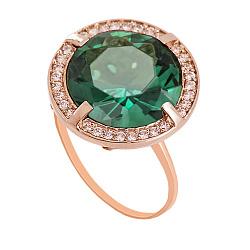 Золотое кольцо Ромилда с синтезированным аметистом и фианитами 000018403