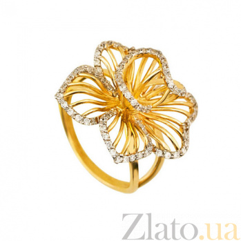 Кольцо из желтого золота Настурция с фианитами VLT--ТТ1122