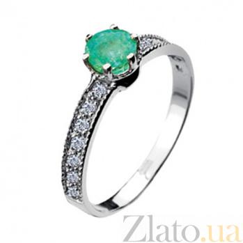 Золотое кольцо с изумрудом и бриллиантами Наяда KBL--К1446/бел/изум