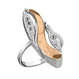 Кольцо из серебра Индиго со вставками золота