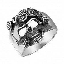 Серебряное черненое кольцо Череп в розах